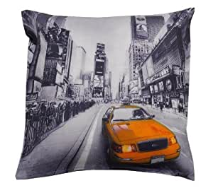 New York Taxi Cab Yellow Cushion Cover 17 x 17 Photograph by CCC online