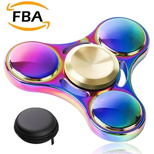 E2Buy® 3-7 Mins Iridescent Fidget Spinner, Advanced R188 High Speed Stainless Steel Bearing with Long Spin Time, Rainbow Hand Spinner, Fidget Toy, EDC ADHD Focus Anxiety Stress Relief Toy