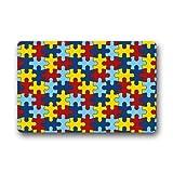 coloré sensibilisation à l'autisme pièces de puzzle en caoutchouc antidérapant Porte Tapis de sol Paillasson 45,7x 76,2cm