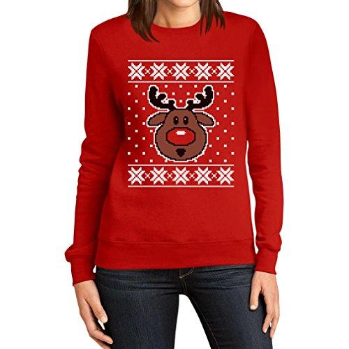 Hässlicher Weihnachtspullover Rudolph Rudolf Rentier Frauen Sweatshirt Large Rot