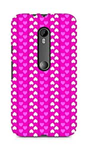 Amez designer printed 3d premium high quality back case cover for Moto G Turbo Edition (Romantic Pink n White Color Hearts)