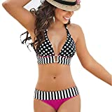 QingJiu Bademode Frauen Streifen Bikini Set Bandage Push-Up Badeanzug Bade Beachwear(Hot Pink,Small)