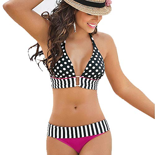 Strip Foto Kostüm - feiXIANG Strandmode Wellenpunkt Bikini Set Neckholder Split Badeanzug Bademode Patchwork Schwimmanzug(Heiß Rosa,XL)