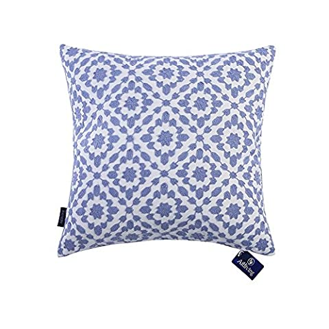 Aitliving Cushions Cover Trellis Patterned Decorative Pillow Cover Cotton Canvas 1 pc of Mina Blue Cushion Covers 18x18 inches(45.5x45.5cm)