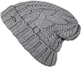 Noise NOICAPWNTR043 Polyester Charcoal Fleeced Twist Knitted Beanie, Adult (Grey)
