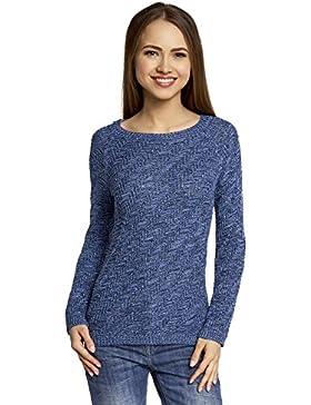 [Patrocinado]oodji Ultra Mujer Jersey de Punto Texturizado con Rayas Diagonales