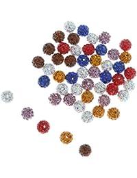 MagiDeal 50pcs Perles Rondes de Cristal Strass Boule de Shamballa pour Diy Bricolage 10mm