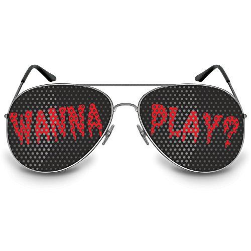 """COOLEARTIKEL Halloween/Fasching Spaßbrille mit Motiv """"wanna play?"""", Partybrille / Fun-Brille als lustiges Accessoire für dein Horror Kostüm, im Nerd oder Piloten Stil (Pilotenbrille silber)"""