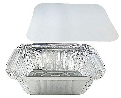 pactogo 1Lb., länglich, tief Aluminium Folie Take-Out Pfanne mit Board Deckel Einweg Container 14,1x 11,6x 4,1cm silber 2 Take Out Container
