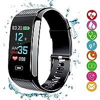 amazqi Fitness Tracker HR, Smart Bracelet Activity Tracker con Pantalla en Color Presión Arterial Heart Rate Sleep Monitor IP67 Waterproof para Android iPhone Adultos Niños (Negro)