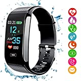 amazqi Fitness Tracker HR, Smart Bracelet Activity Tracker con Pantalla en Color Presión Arterial Heart Rate Sleep Monitor IP67 Waterproof para Android iPhone Adultos Niños (Negro)