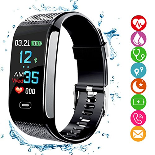 amazqi Fitness Tracker HR, Smart Armband Activity Tracker mit Farbdisplay Blutdruck Herzfrequenz Schlaf Monitor IP68 Wasserdicht für Android iPhone Erwachsene Kinder (Schwarz)