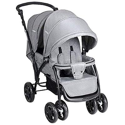 Costway Silla de Paseo Gemelar Cochecito doble para bebés y niños plegable 117 x 53 x 102 cm NegroRojoBeige