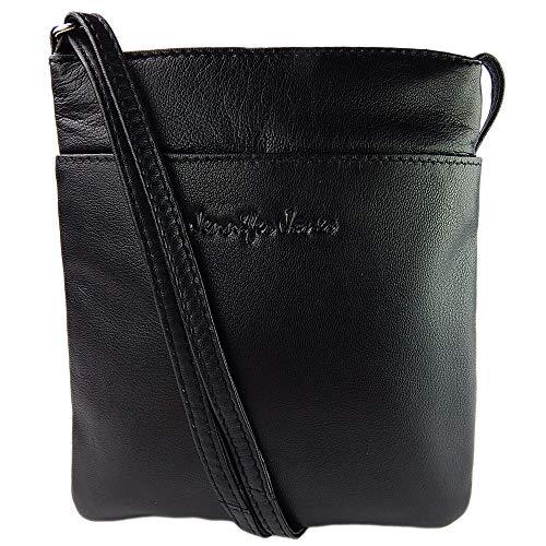 ekavale® elegante kompakte Damen Umhängetasche Schultertasche Handtasche aus echtem Leder (Schwarz)