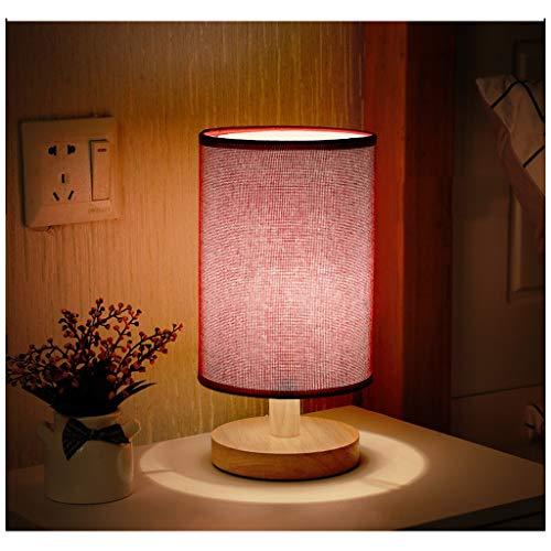 CXD Nachttischlampe Minimalistische Tischlampe Nachttischlampe mit rundem Flachsstoffschirm für Schlafzimmer, Stillen, Kommode, Wohnzimmer, Kinderzimmer, Studentenwohnheim, Couchtisch (Farbe : Rot) -
