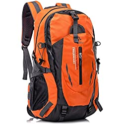 Huntvp Mochila de Alpinismo Mochila Deportiva Gran Mochila Impermeable 40L Para Las Actividades Aire Libre, Senderismo, Caza ,Viajar, Color Naranja