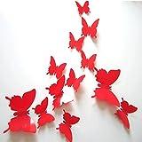 Demiawaking, 12 adesivi da parete, a forma di farfalla (6 farfalle piccole e 6 farfalle grandi), tridimensionali, colorati, per decorare le pareti della cameretta dei bambini o del salotto Red