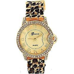 Ladies Rose Gold Beige Leopard Print Silicone Fashion Watch GE0642B