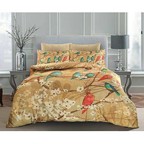 Floral English Flower Garden Bird Digital Bedruckt 100% Baumwolle Satin Bettbezug & Kissenbezug Set weiche Home Luxus Schlafzimmer Deko, Mehrfarbig, Super King -