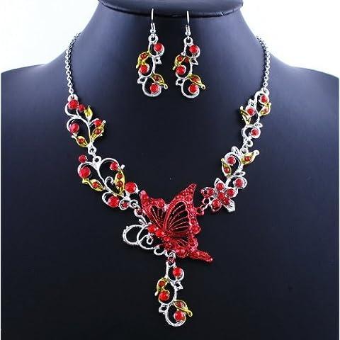 TQWY s in lega, dicono le donne alla moda, stile retrò, a forma di fiore con farfalla nazionale & orecchini, perfetta Idea regalo rosso