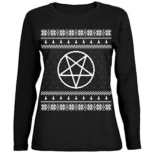 m hässliche Weihnachts Pullover schwarz Womens Long Sleeve T-Shirt - klein weiß (Womens Hässlichen Pullover Weihnachten)