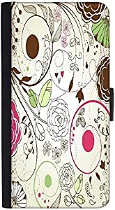 Snoogg Retro Floral Backgrounddesigner Protective Flip Case Cover For Htc M9