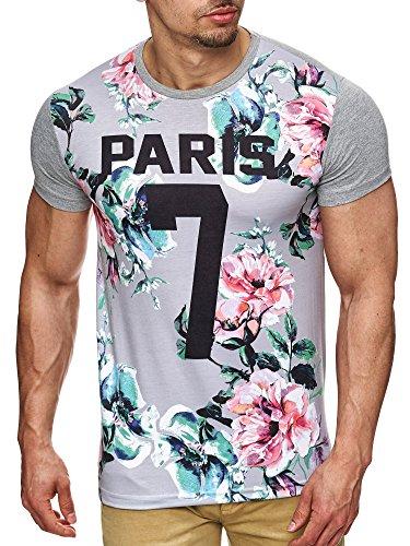 S!RPREME Herren T-Shirt mit Blumenprint Floral Print Shirt Paris Hipster Flower Poloshirt Hemd Shirt Oversize Grau Meliert Hellgrau XL (Floral Print-shirt)
