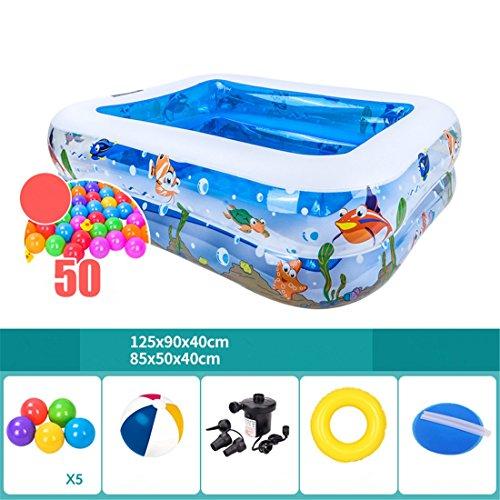 Verdicken umweltfreundliche PVC Familie Erwachsene Kinder schwimmen gefaltet aufblasbare Quadrat Ozean Fisch Muster Pool 125 * 90 * 40 cm für 1 Person