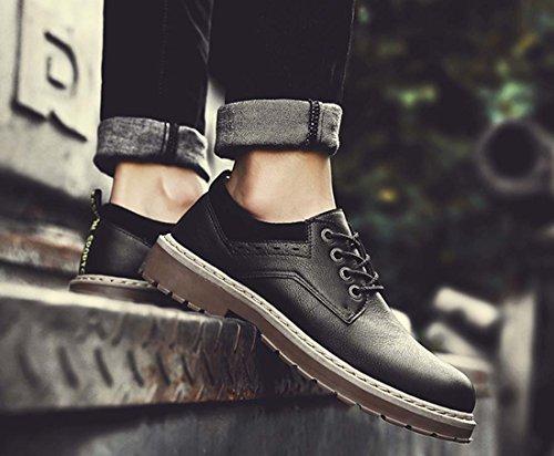 Chaussures De Sport À La Mode Avec Bout Rond Plissé Chaussures Pour Hommes De Martin Boot Chaussures En Cuir Chaud Anti-sauter Noir