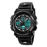 Beswlz Jungen Uhren Multifunktions Dual Time Digital Uhren Alarm Sport wasserdicht Kinder Uhren schwarz