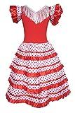 La Senorita Spagnolo Flamenco vestito/costume bambine Rosso/Bianco