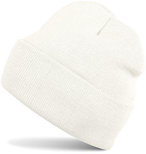 styleBREAKER classique Bonnet Tricoté, fine tricot, chaud, Unisexe 04024029 blanc (crème)