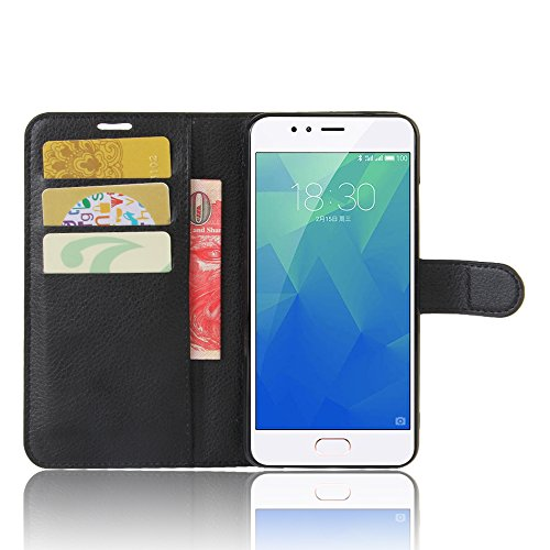 "Meizu M5S Custodia, SMTR Meizu M5S (5.2"") Wallet Case Cover Leather Flip Cover Magnetic closing Anti-Shock Function with Stand - Nero"