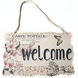 VORCOOL Placa Bienvenido de Madera con Flores Vintage Decorativo Signo de Puerta de Pared Vintage