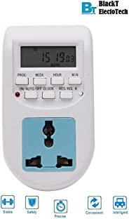 Blackt Electrotech 230V 24x7 Energy Saving Socket Type Digital Programmable Plastic Electronic Timer (White)