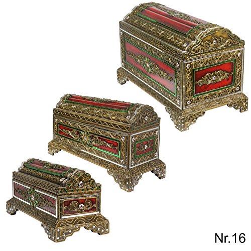 Runddeckeltruhe Kiste Schatzkiste Truhe Schatztruhe Box Piraten Prinzessinnen Chest ca. 50 cm Holz Spiegelstein Bunt Gold Rot Grün groß Nr. 16