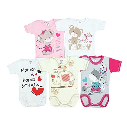 5er Set Baby Kurzarm-Body mit Aufdruck 100% Baumwolle Kurzarmbody Mädchen Babybody Jungen, Farbe: Mädchen 2, Größe: 86