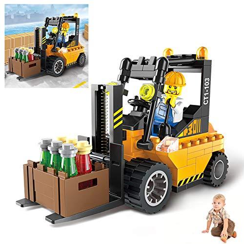 1Set Bausteine ??Auto Spielzeug Gebäude-Ziegelstein Technik Fahrzeug Montage Spielzeug-Set BAU-Geburtstags-Party Supplies Mini-Spielzeug-Autos für Kleinkinder Jungen Mädchen (Gabelstapler)