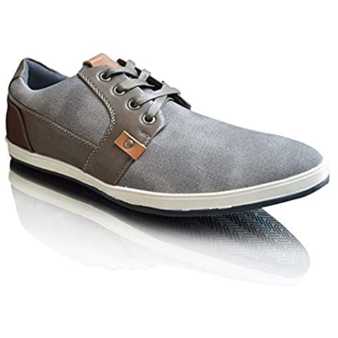 New Men's Smart Leather Lined Casual 2-Tone Shoes UK Size 6-11 (9 UK, Grey)