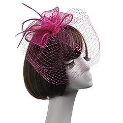 Winkey 2018 est Fashion Bridal Headpiece,Fashion Women Fascinator Net Bow Tie Mesh Hat Cocktail Party Headdress Wedding from 655387056777
