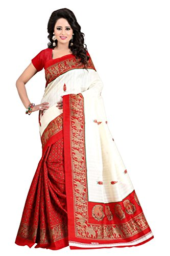J B Fashion Cotton Saree With Blouse Piece (Saress For Women-Silky Touch-Red_Red_Free...