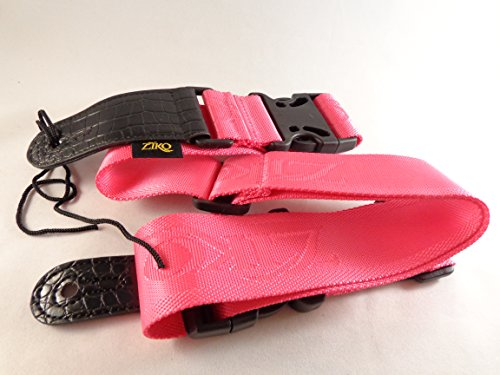 Electric Nylon Acoustic (Pink Clip Lock Quick Release Acoustic Electric Guitar Strap Nylon Faux Leather)
