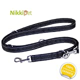 Nikkipet Hundeleine Schwarz | Verstellbar in 4 Längen 1,1 m – 1,8 m | Führleine für große und kräftige Hunde