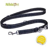 [Gesponsert]Hundeleine schwarz + weiße Streifen, robust und verstellbar in 4 Längen 1,1 m – 1,8 m, 2,5 cm breit, für große und kräftige Hunde, Doppelleine