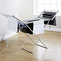 Sentik® Étendoir à vêtements chauffant électrique pliable/portable/ à 18barres en aluminium léger Séchoir à linge, à serviettes