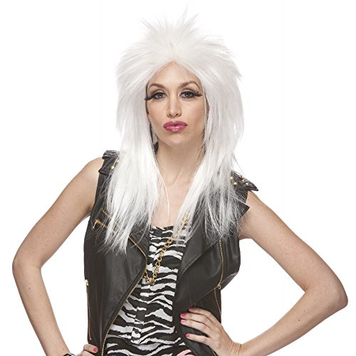 Characters Extra Long Rocker Synthetic Wig - White