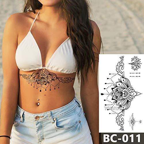 tzxdbh Brust Körper Tattoo temporäre wasserdichte Schmuck überbackene Spitze Kronleuchter Muster Decal Taille Art Tattoo