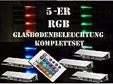 60 mm LED 5-er RGB-Glasbodenbeleuchtung-Komplett-Set +Trafo+RGB-Controller+Fernbedienung