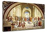 Bild Raffaello - Schule von Athen - Raffaello Sanzio - Leinwanddruck auf Leinwand mit oder ohne Rahmen - wählen Sie die gewünschte Größe von - cm 50 bis 130 cm Breite (DRUCKEN AUF CANVAS (OHNE RAHMEN), CM 130X87)
