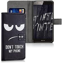kwmobile Funda para Huawei G8 / GX8 - Wallet Case plegable de cuero sintético - Cover con tapa tarjetero y soporte Diseño Don't touch my Phone en blanco negro